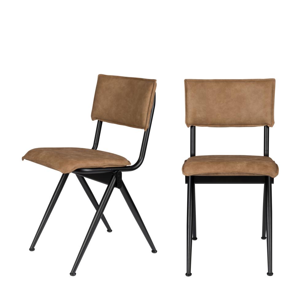 2 chaises en simili camel