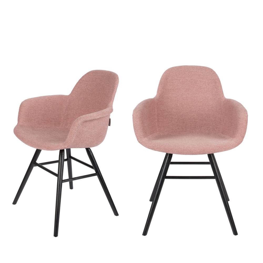 maison du monde 2 chaises avec accoudoirs en tissu vieux rose
