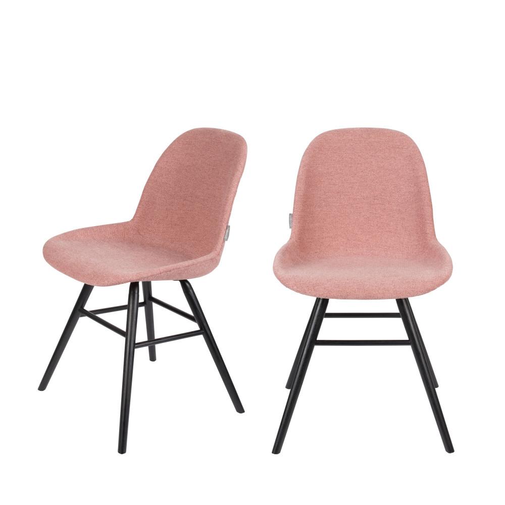 maison du monde 2 chaises en bois et tissu vieux rose