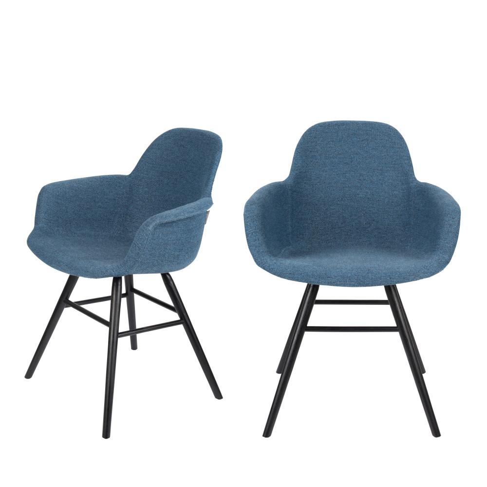 maison du monde 2 chaises avec accoudoirs en tissu bleu pétrole