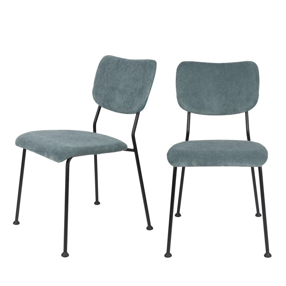 maison du monde 2 chaises en velours côtelé gris