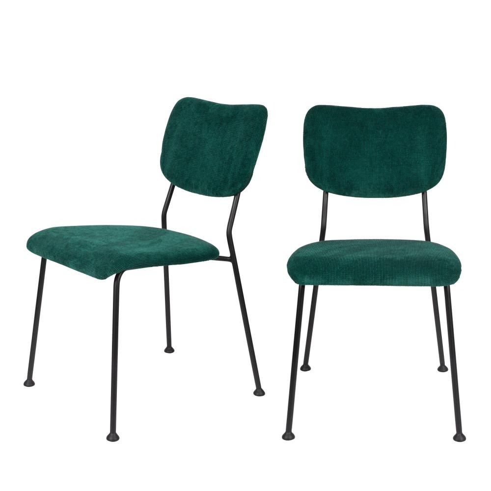 maison du monde 2 chaises en velours côtelé vert forêt