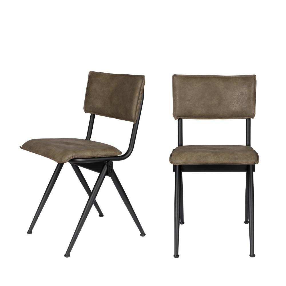 maison du monde 2 chaises en simili marron argile