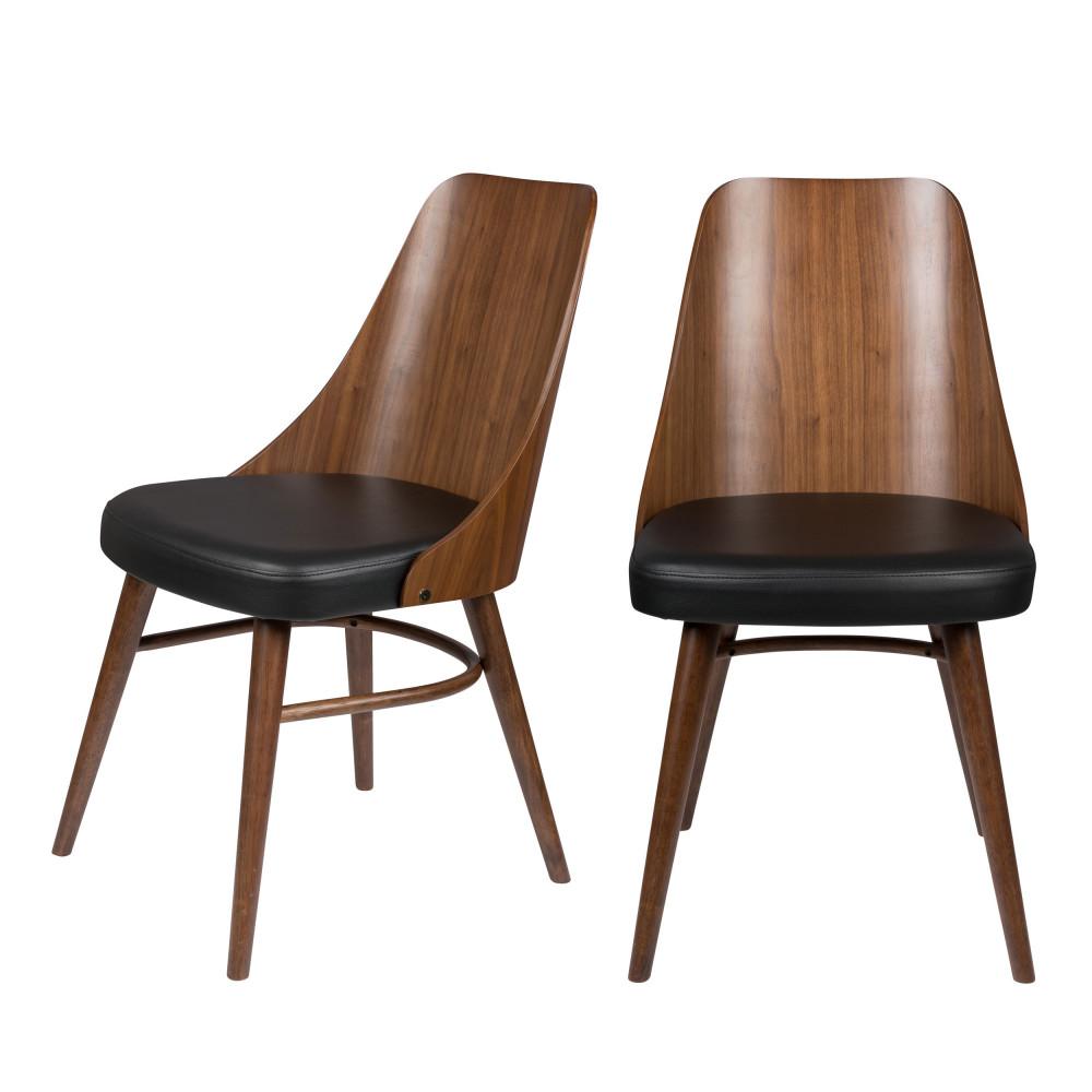 maison du monde 2 chaises en bois et simili bois foncé  et  noir