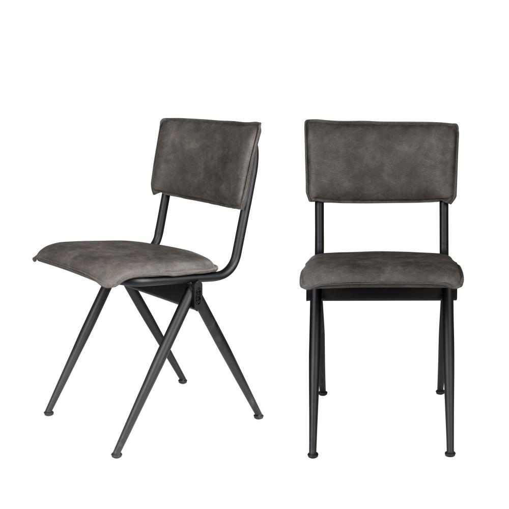 2 chaises en simili gris anthracite