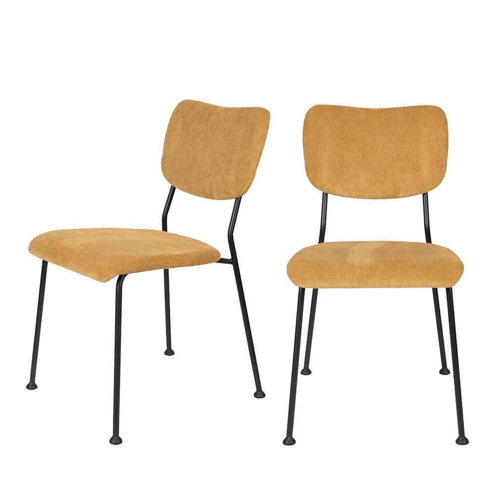 maison du monde 2 chaises en velours côtelé ocre