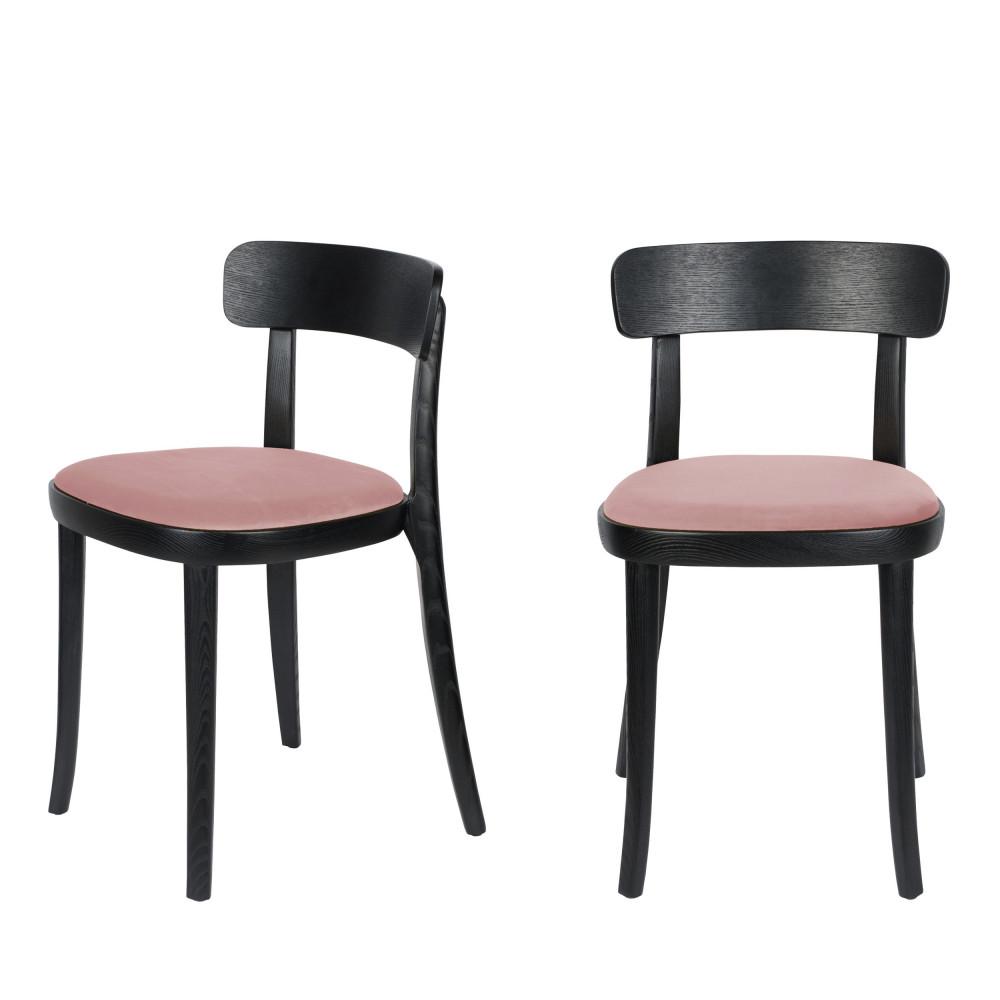 maison du monde 2 chaises en velours et bois rose