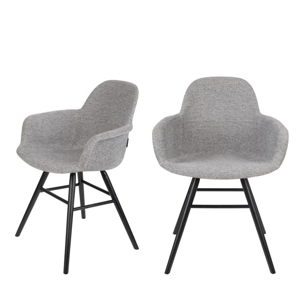 maison du monde 2 chaises avec accoudoirs en tissu gris clair
