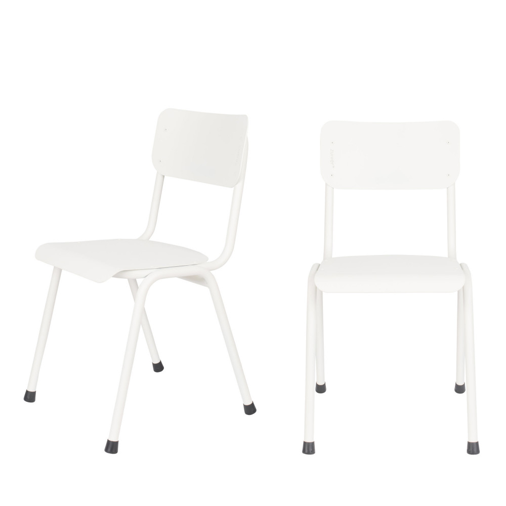 maison du monde 2 chaises d'écolier indoor et outdoor blanc