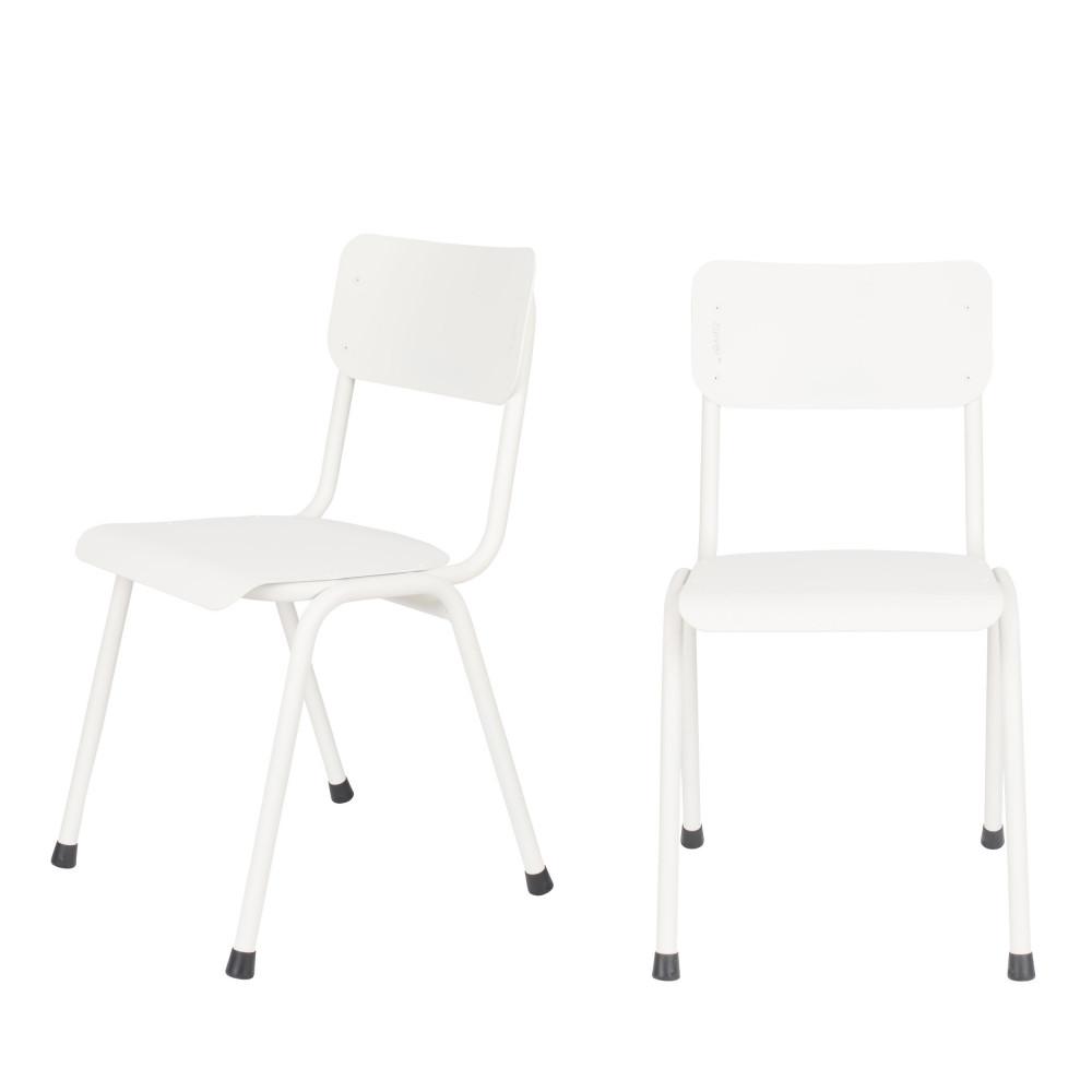 2 chaises d'écolier indoor et outdoor blanc