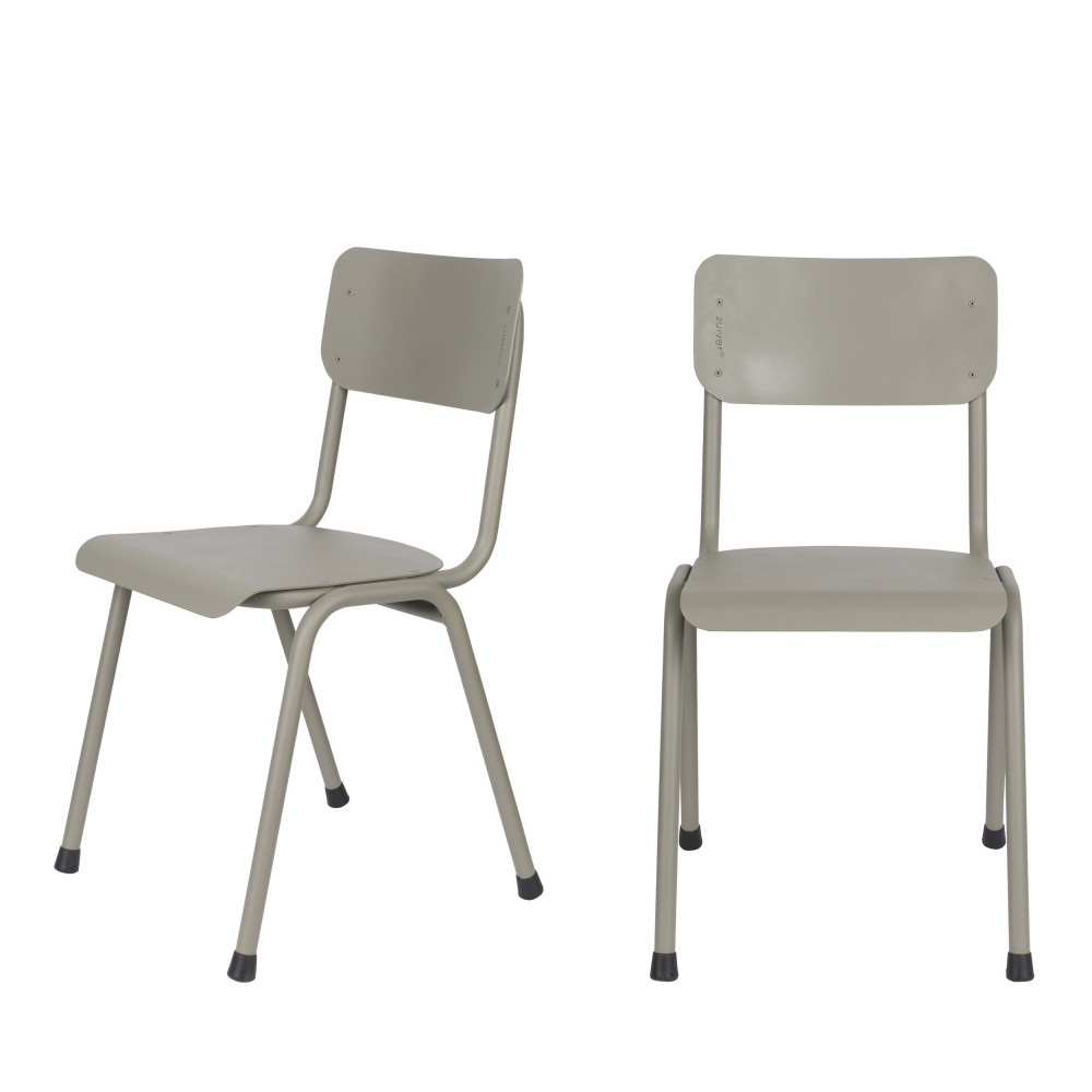 maison du monde 2 chaises d'écolier indoor et outdoor taupe