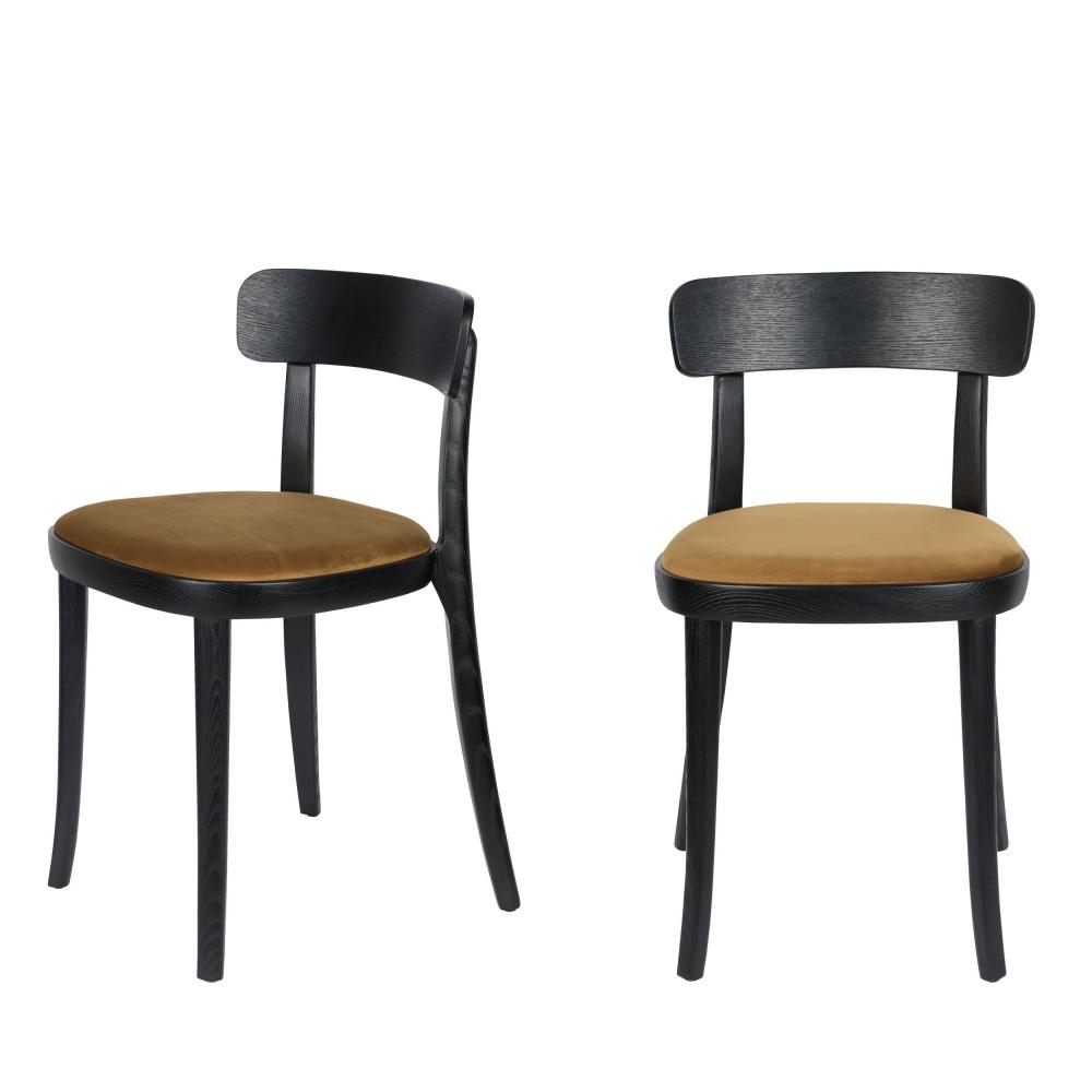 maison du monde 2 chaises en velours et bois camel