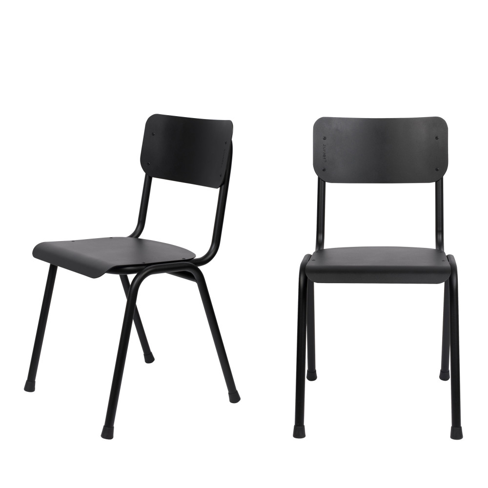 2 chaises d'écolier indoor et outdoor noir