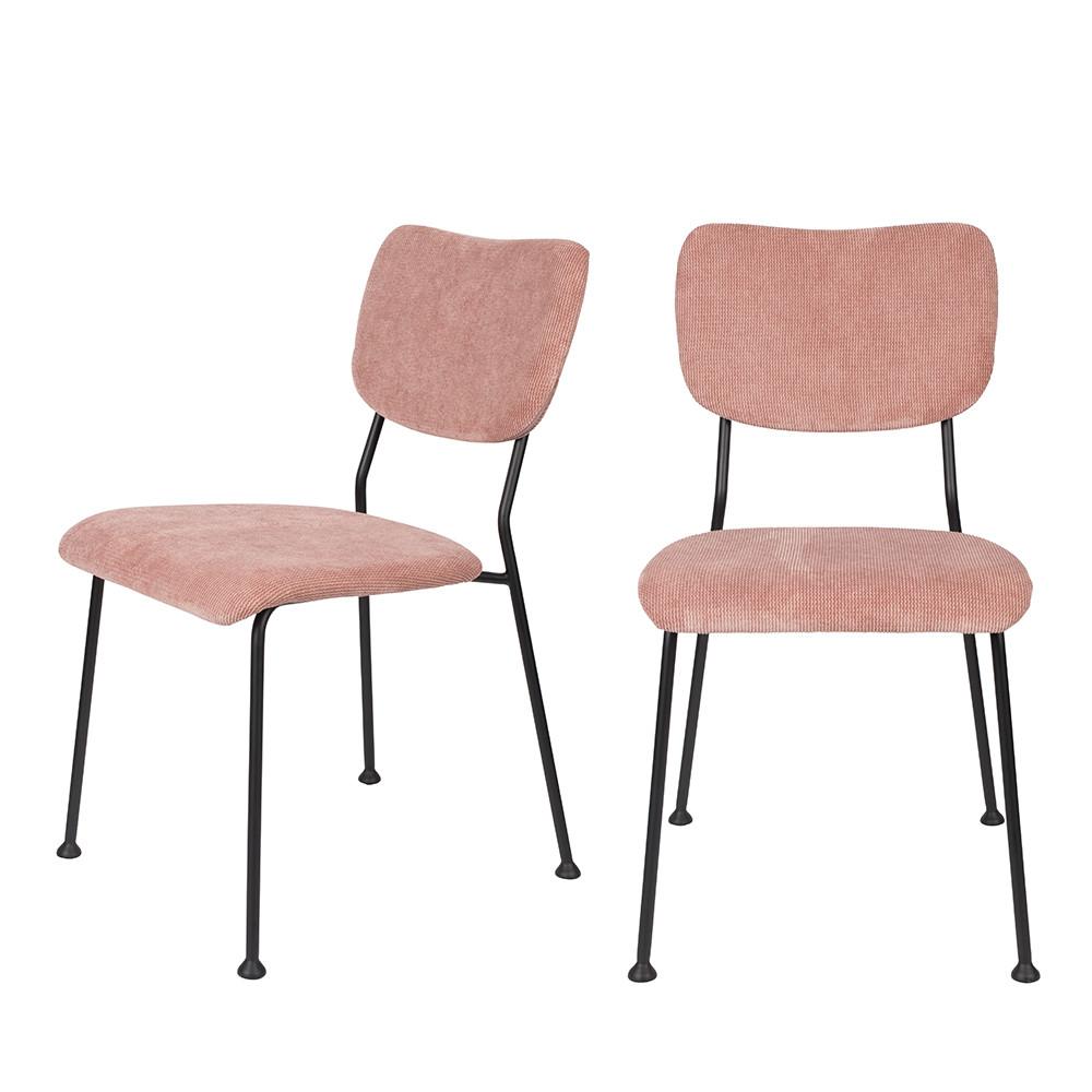 maison du monde 2 chaises en velours côtelé vieux rose