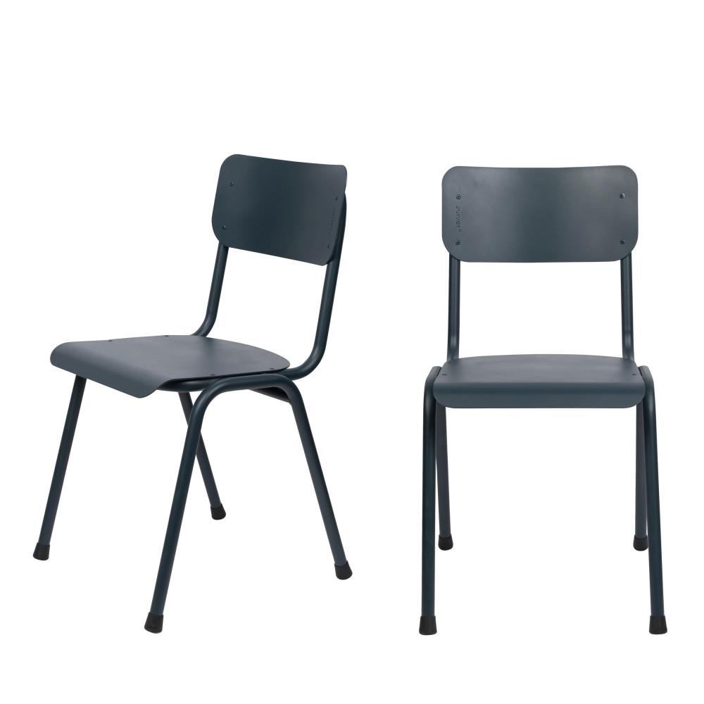 2 chaises d'écolier indoor et outdoor bleu pétrole