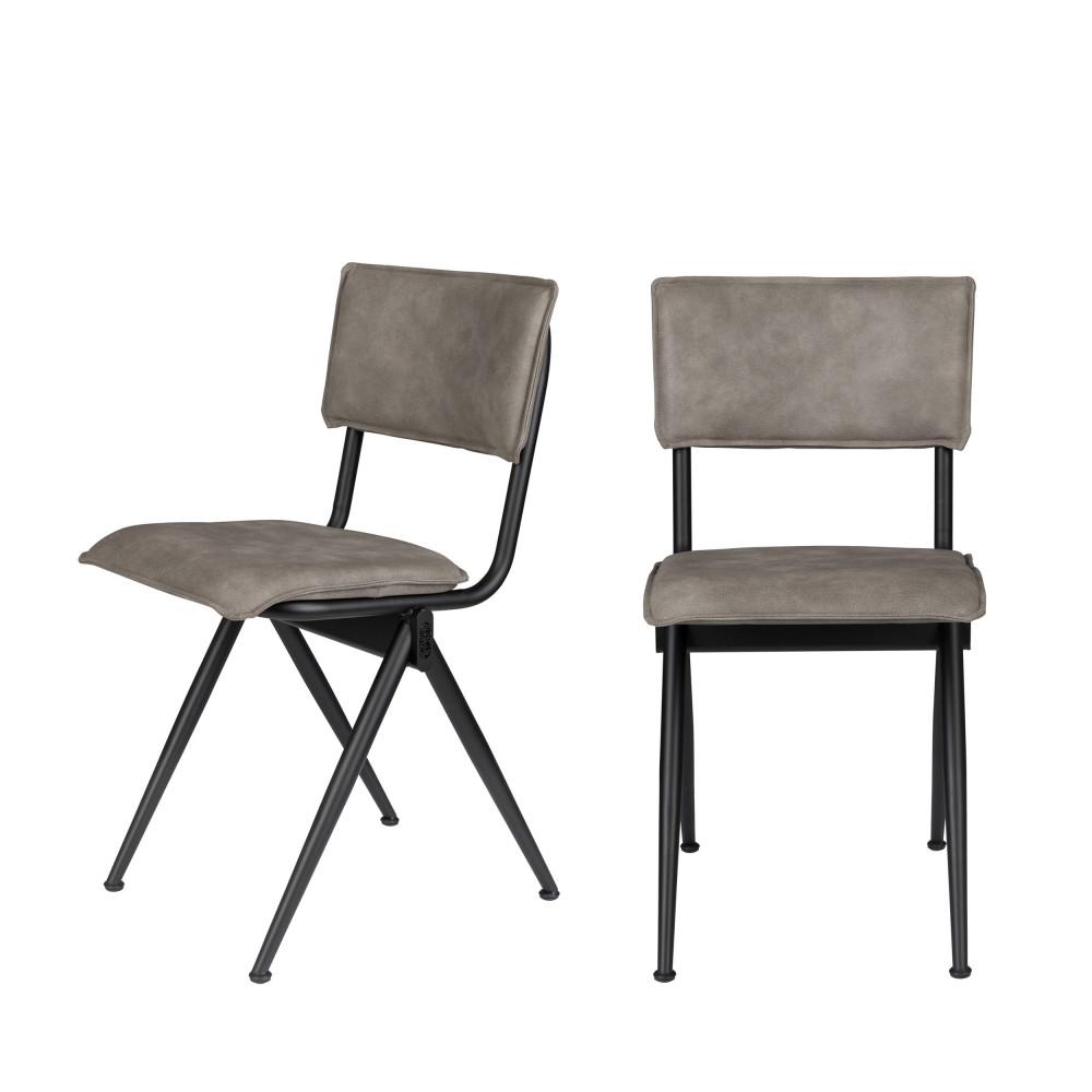 2 chaises en simili gris