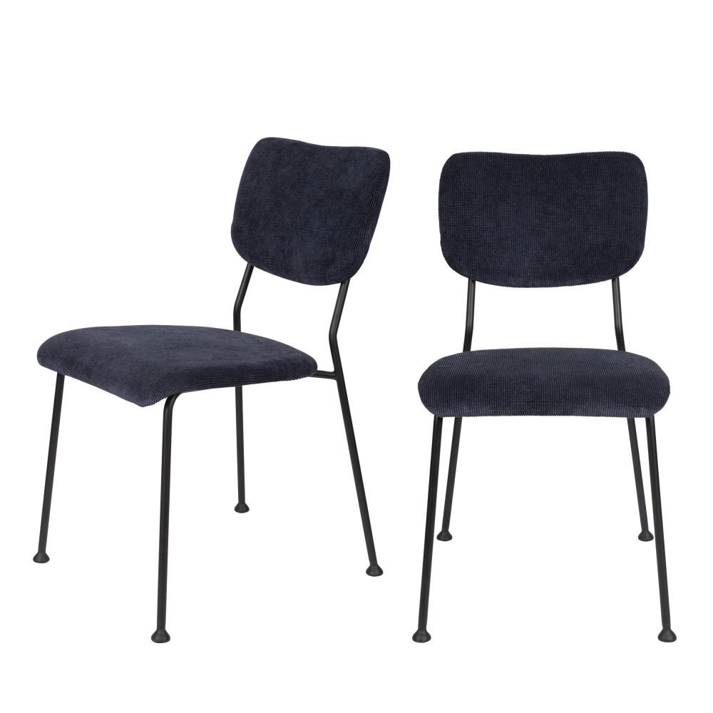 maison du monde 2 chaises en velours côtelé bleu marine