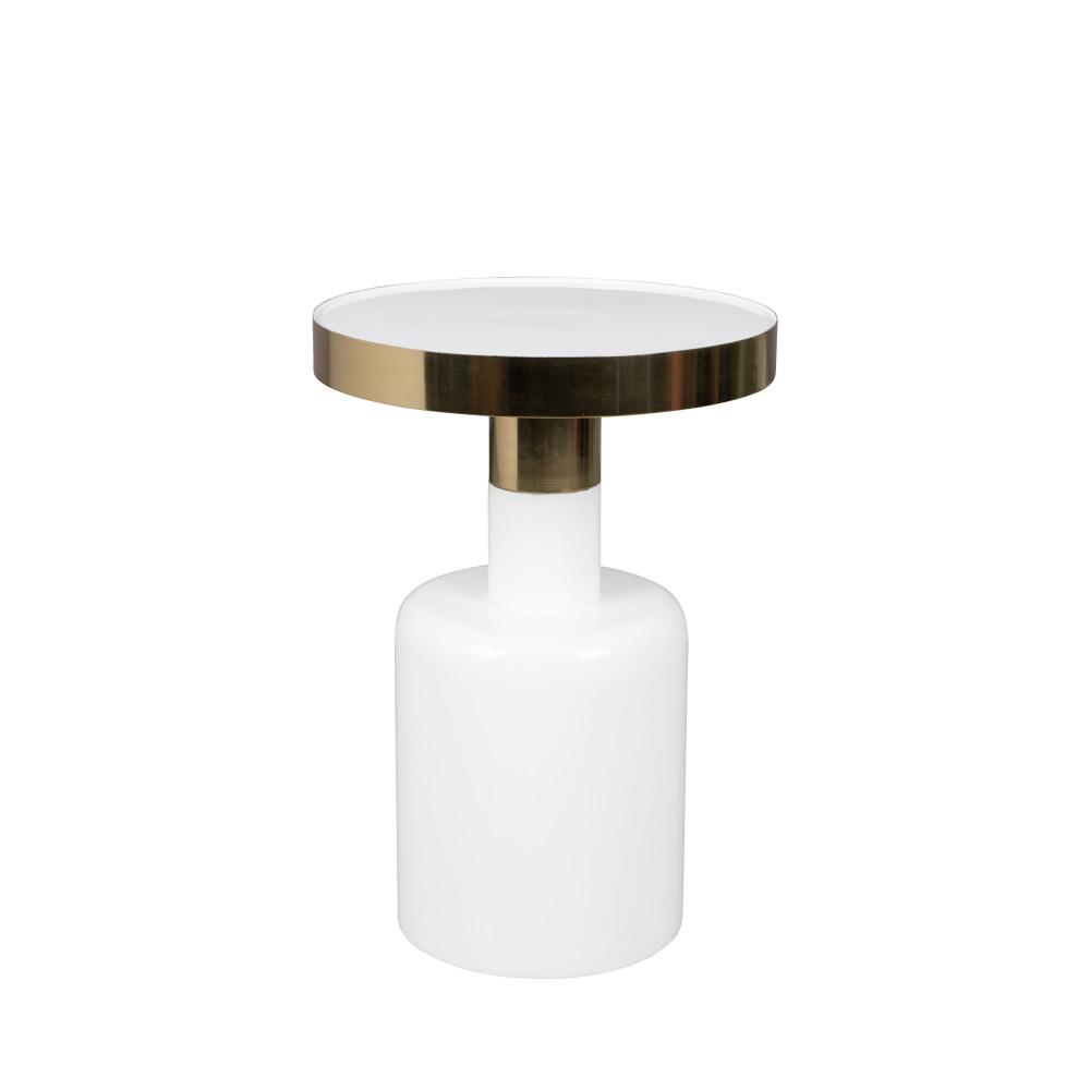 Table d'appoint ronde en métal D36cm blanc