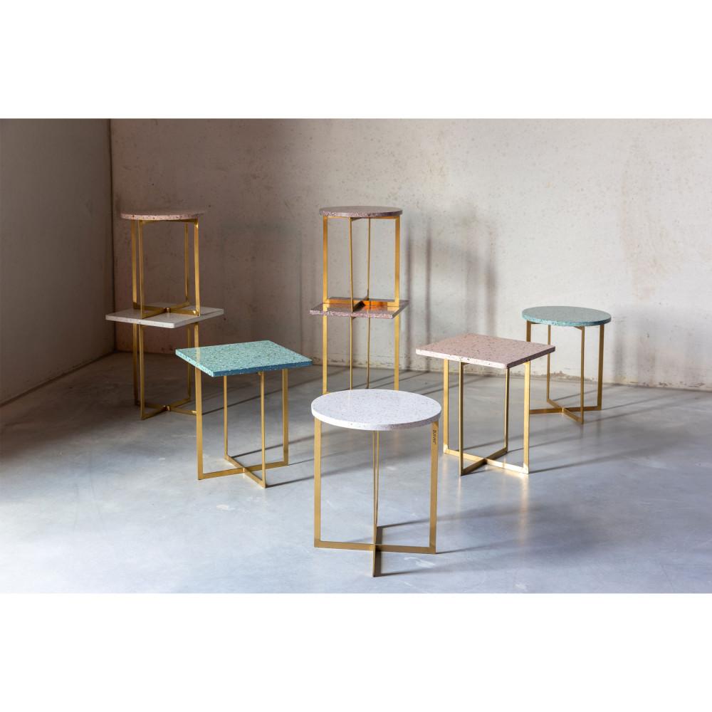 Table d'appoint ronde métal et terrazzo D40cm blanc