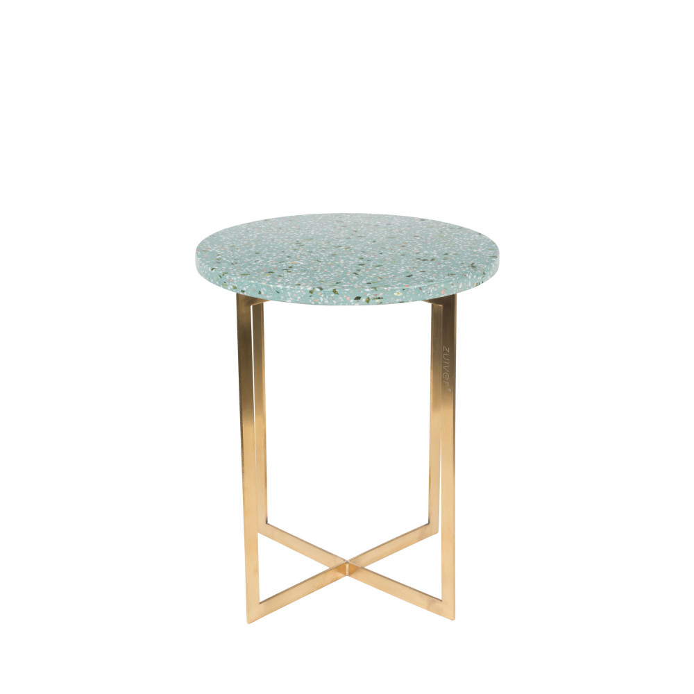 Table d'appoint métal et terrazzo D40cm turquoise