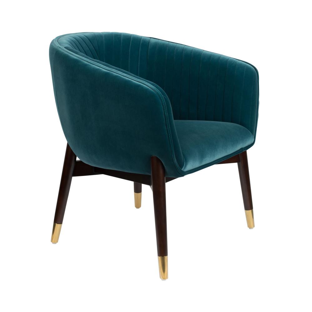 Fauteuil vintage en velours bleu canard