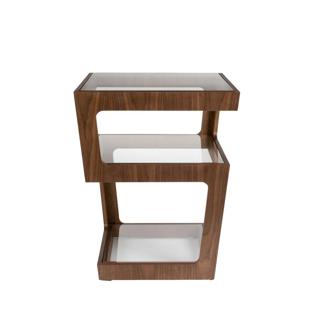 Table d'appoint en bois et verre bois foncé