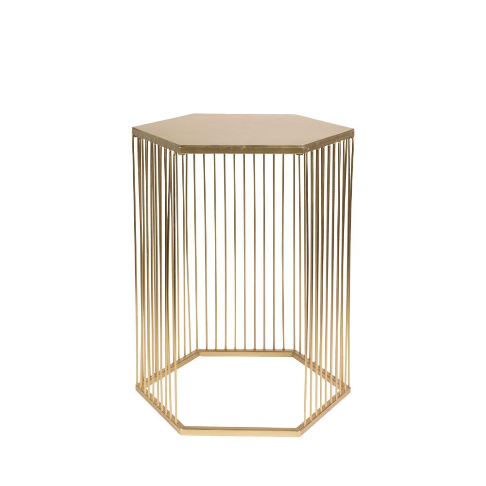 Table d'appoint hexagonale en métal or