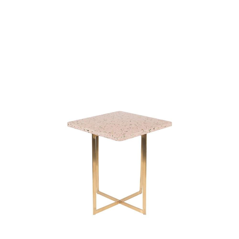 Table d'appoint carrée en métal et terrazzo rose