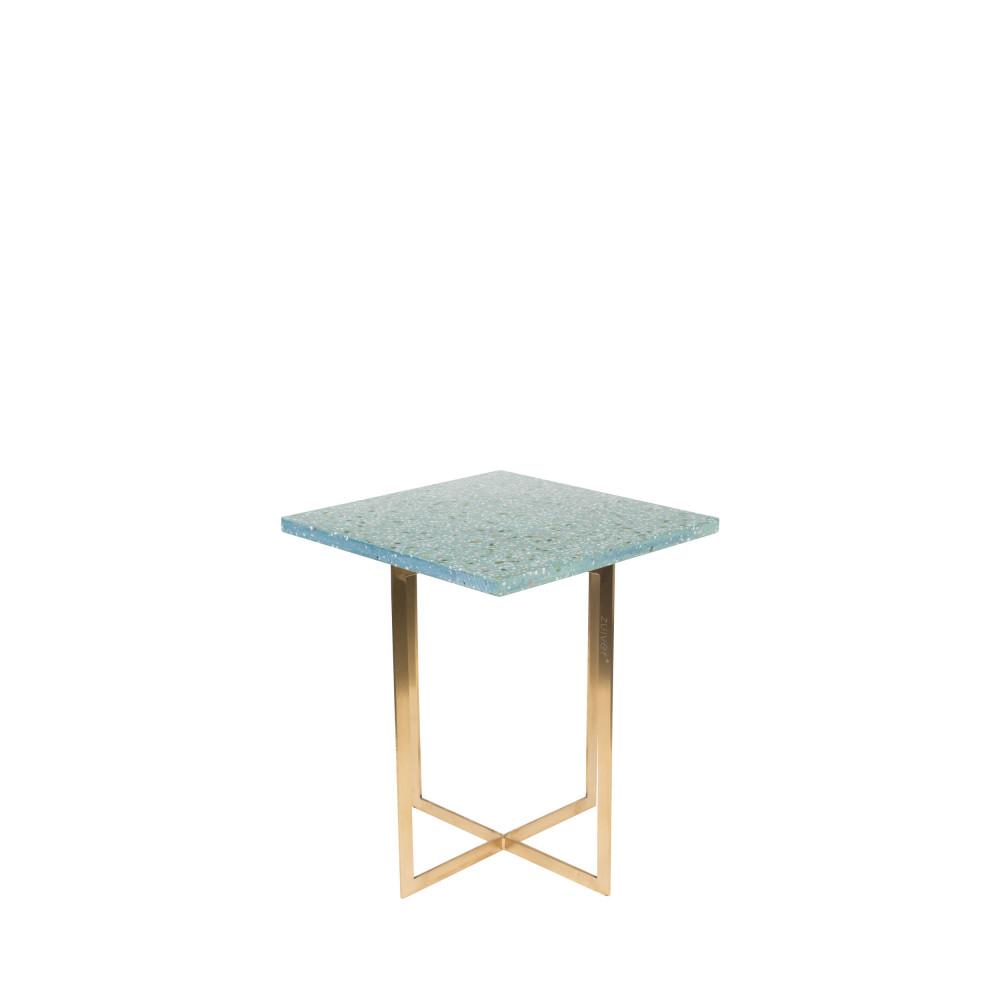 Table d'appoint carrée métal et terrazzo turquoise