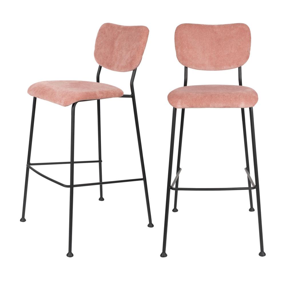 2 tabourets de bar en velours côtelé 75cm rose