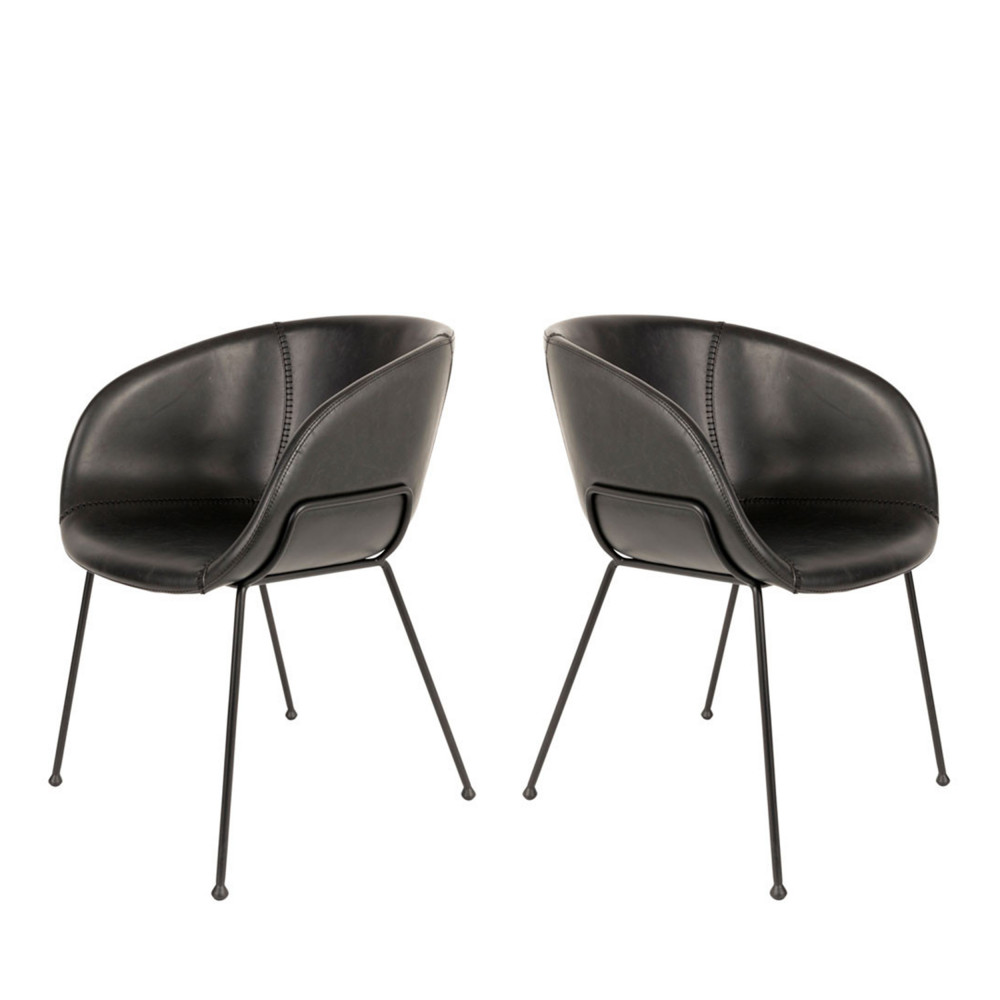 2 fauteuils de table en simili noir