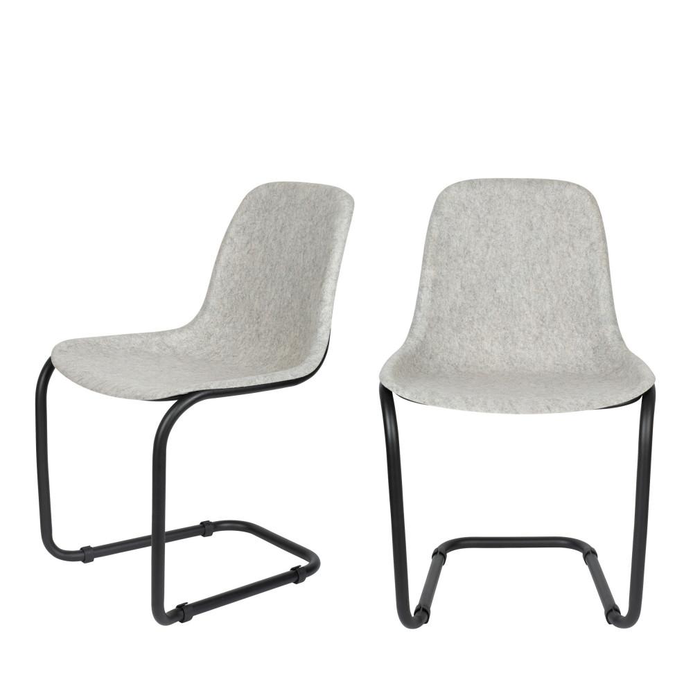 2 chaises en plastique gris clair