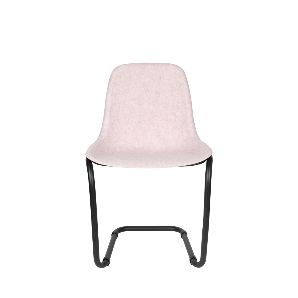 2 chaises en plastique rose pastel