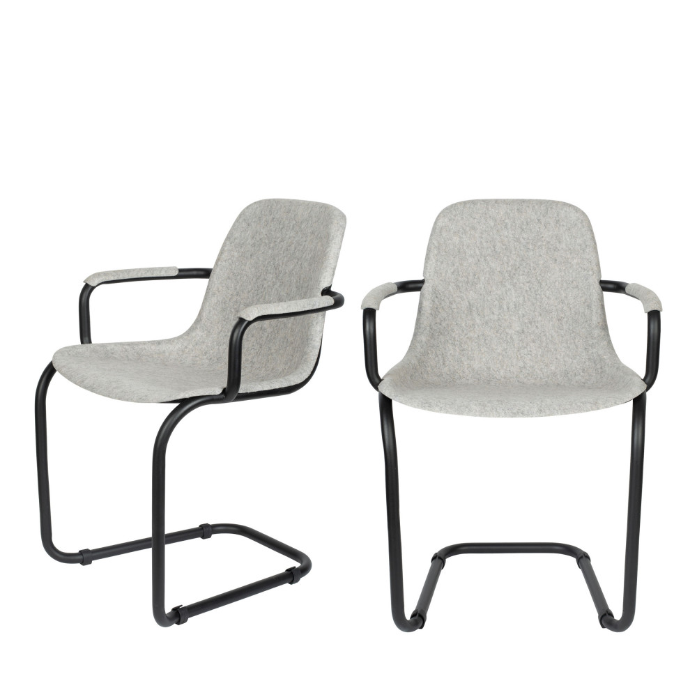 2 chaises avec accoudoirs en plastique gris clair