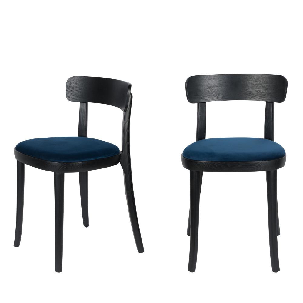 maison du monde 2 chaises en velours et bois bleu pétrole