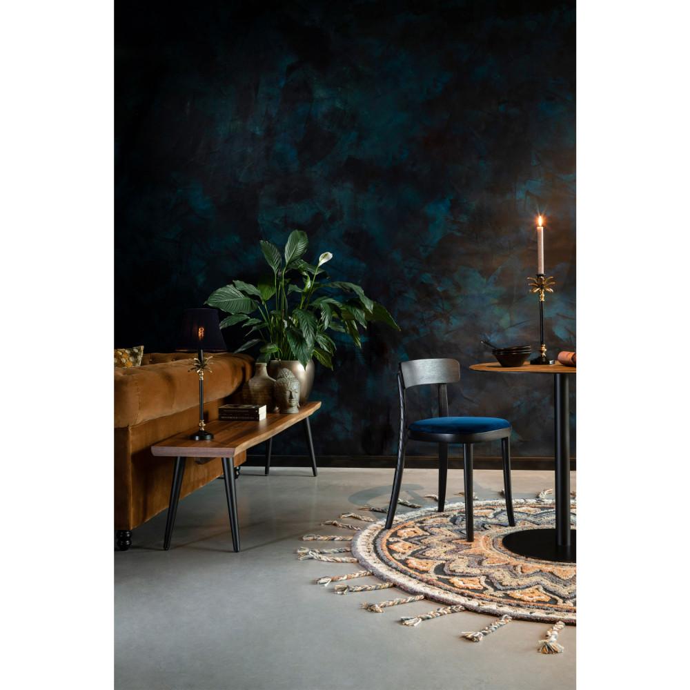 2 chaises en velours et bois bleu pétrole