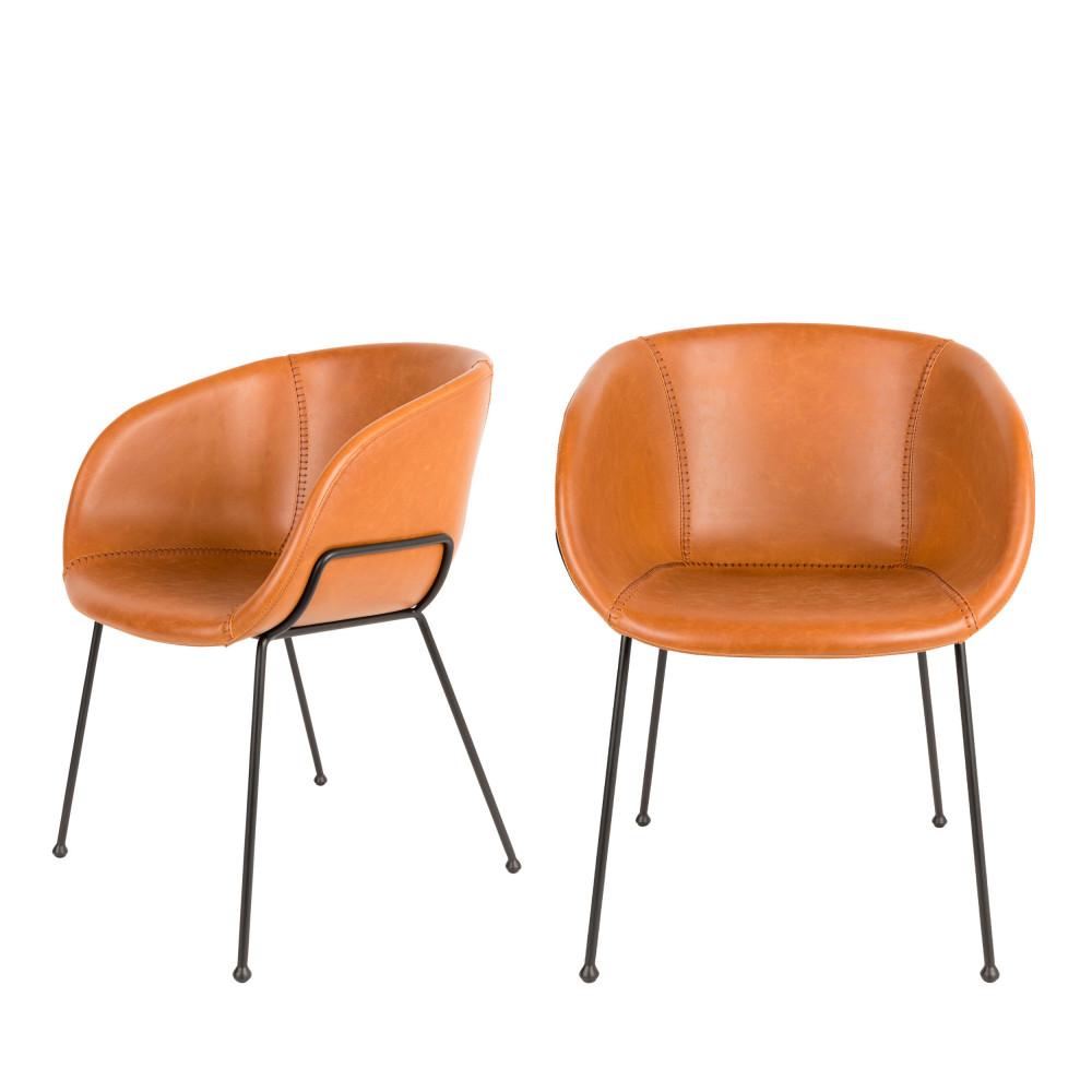 2 fauteuils de table en simili cognac