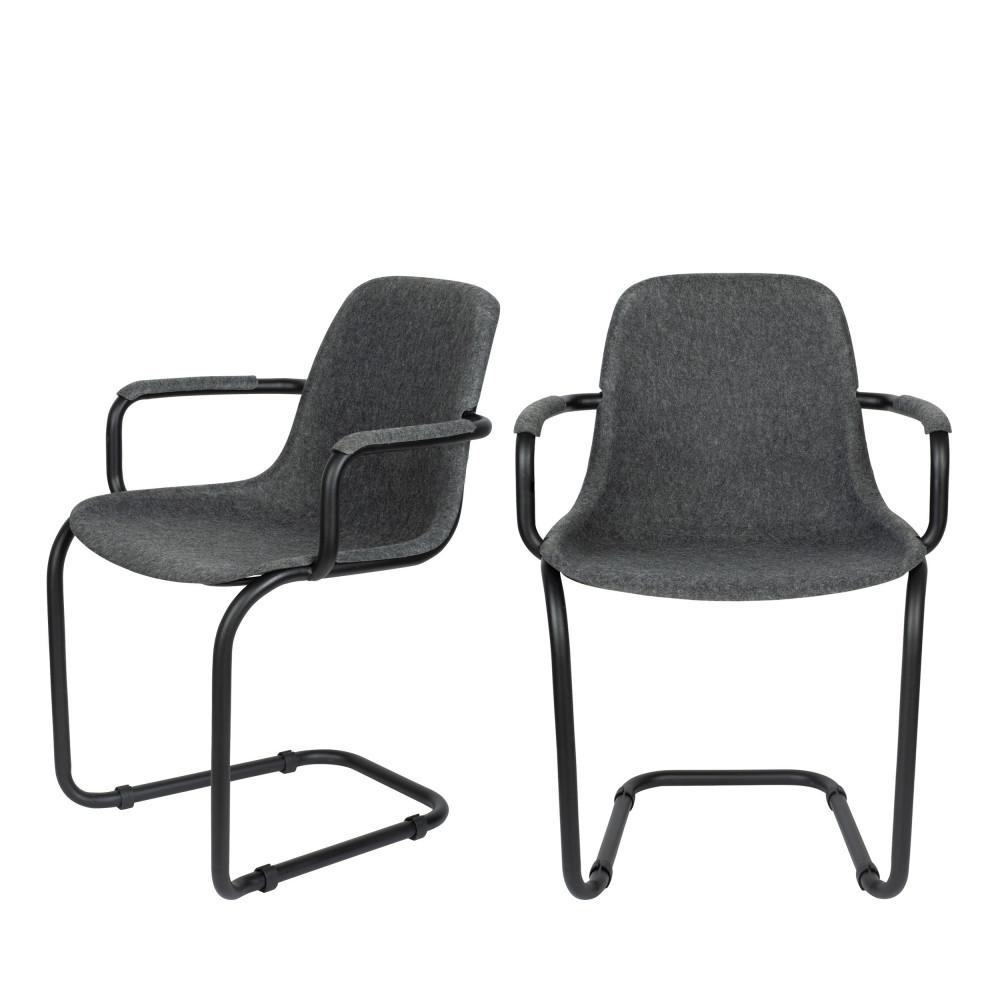 2 chaises avec accoudoirs en plastique gris