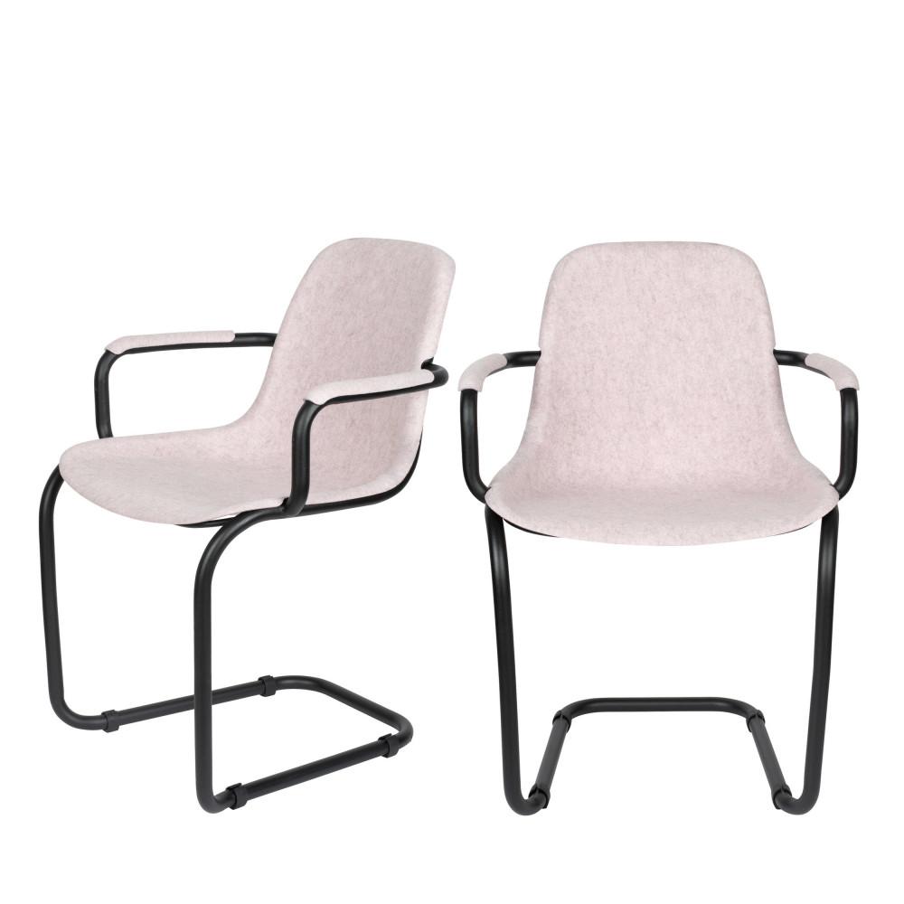 maison du monde 2 chaises avec accoudoirs en plastique rose pastel