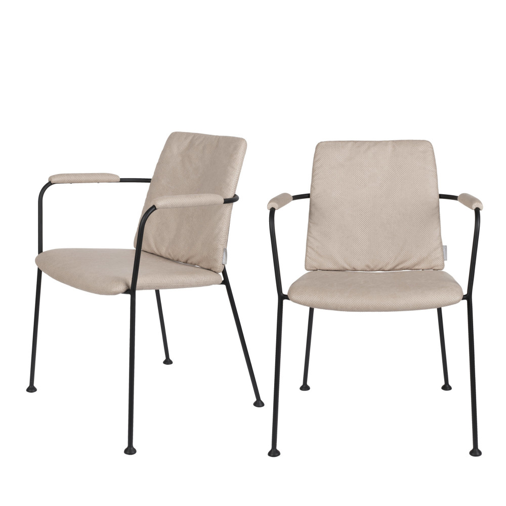 2 chaises avec accoudoirs en tissu beige
