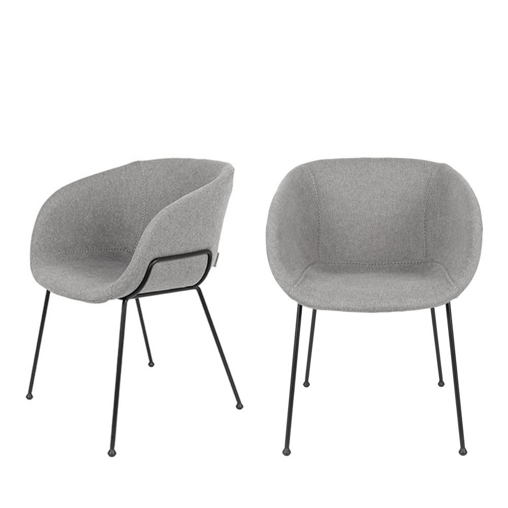 maison du monde 2 fauteuils de table en tissu gris