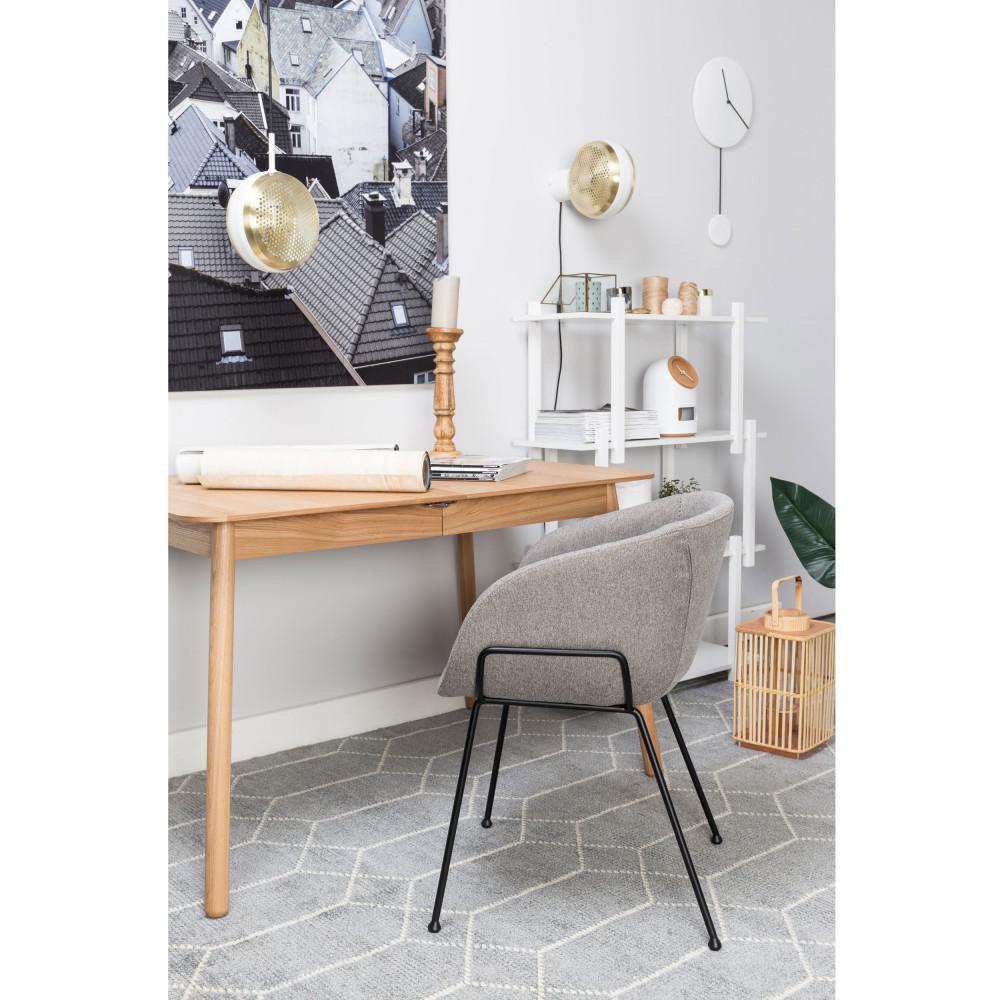 2 fauteuils de table en tissu gris