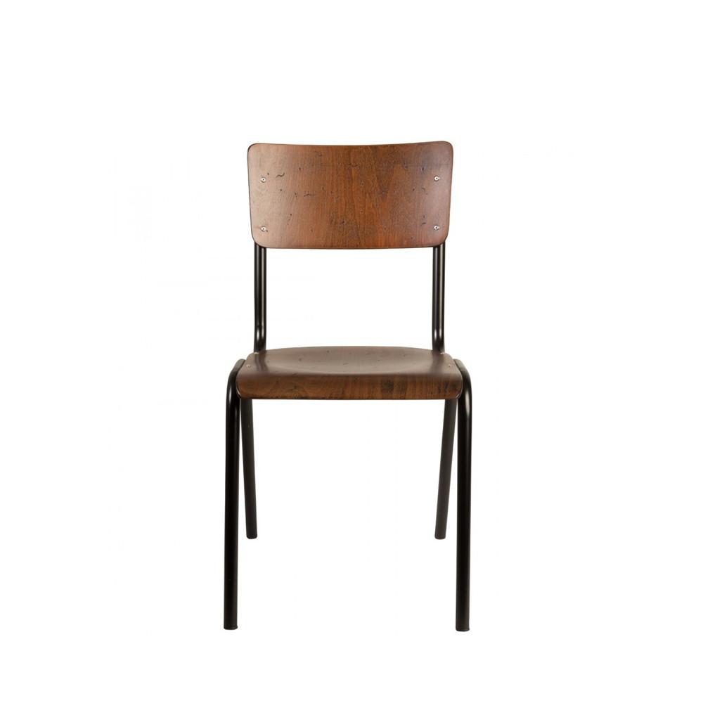 4 chaises vintage métal bois foncé