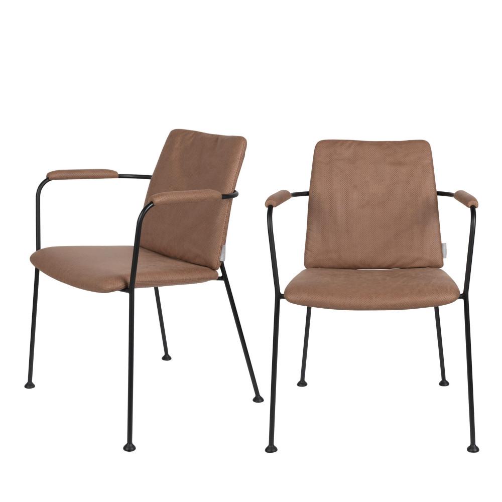 maison du monde 2 chaises avec accoudoirs en tissu marron