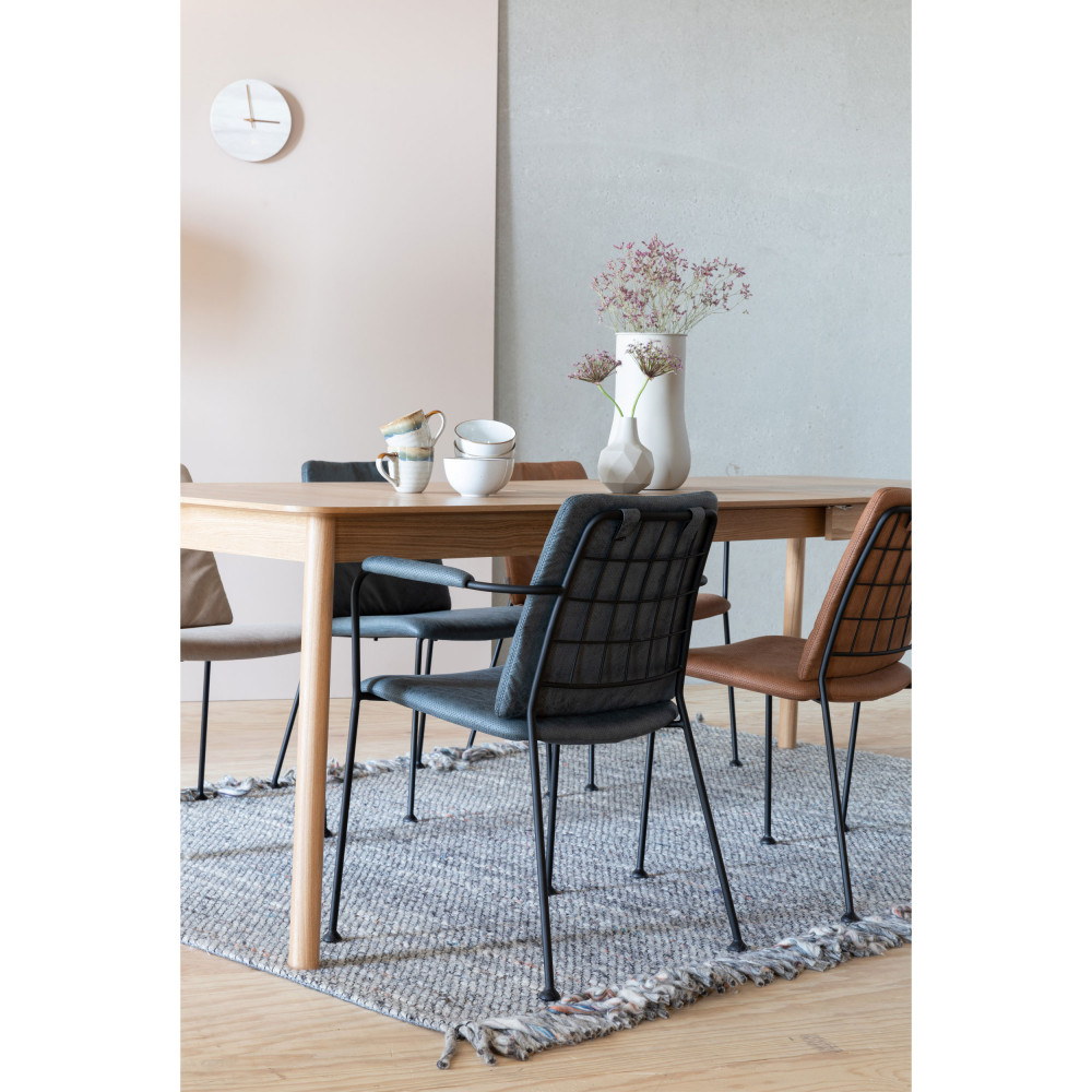 2 chaises avec accoudoirs en tissu marron