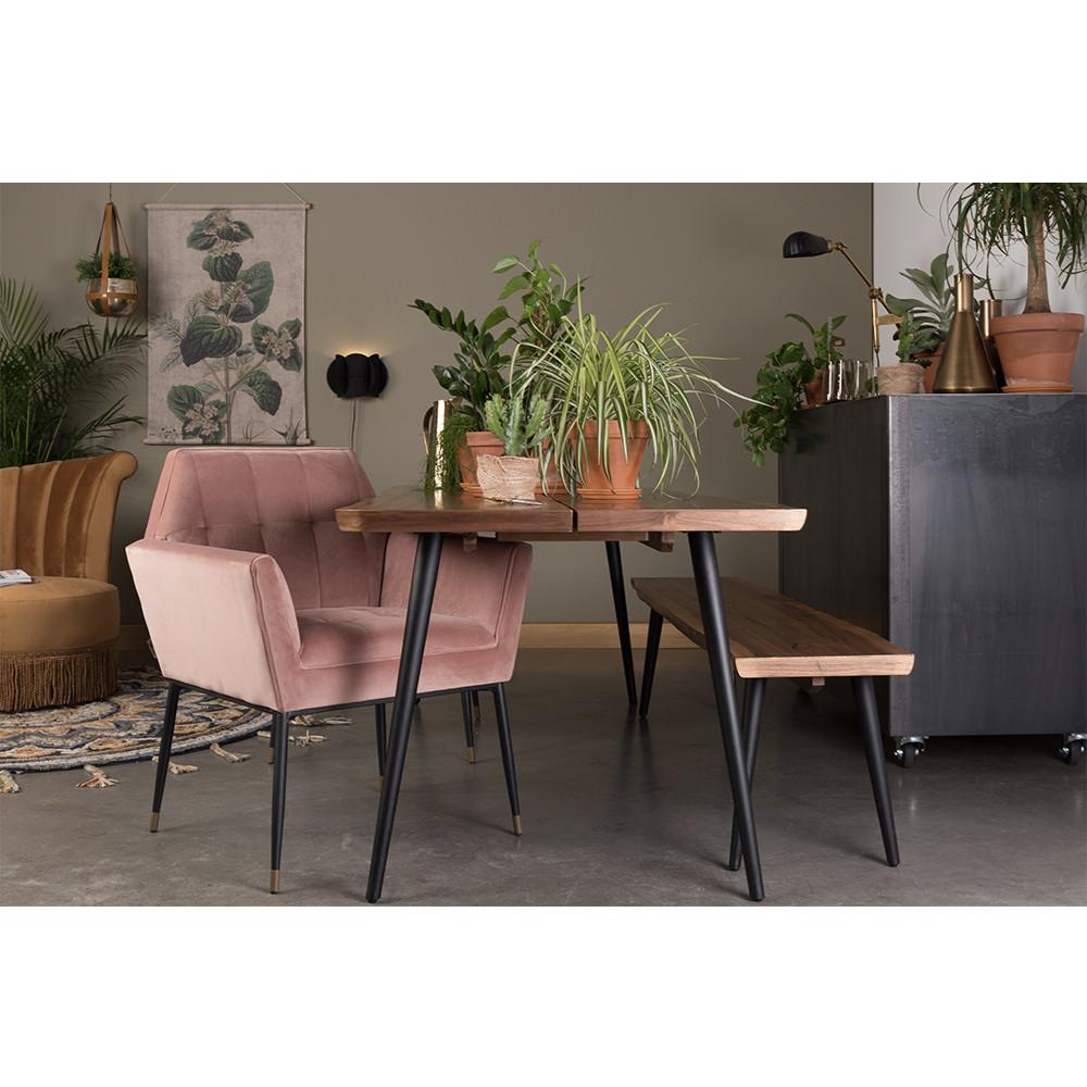 Fauteuil de table en velours vieux rose