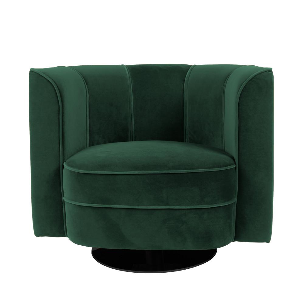 Fauteuil lounge en velours vert forêt