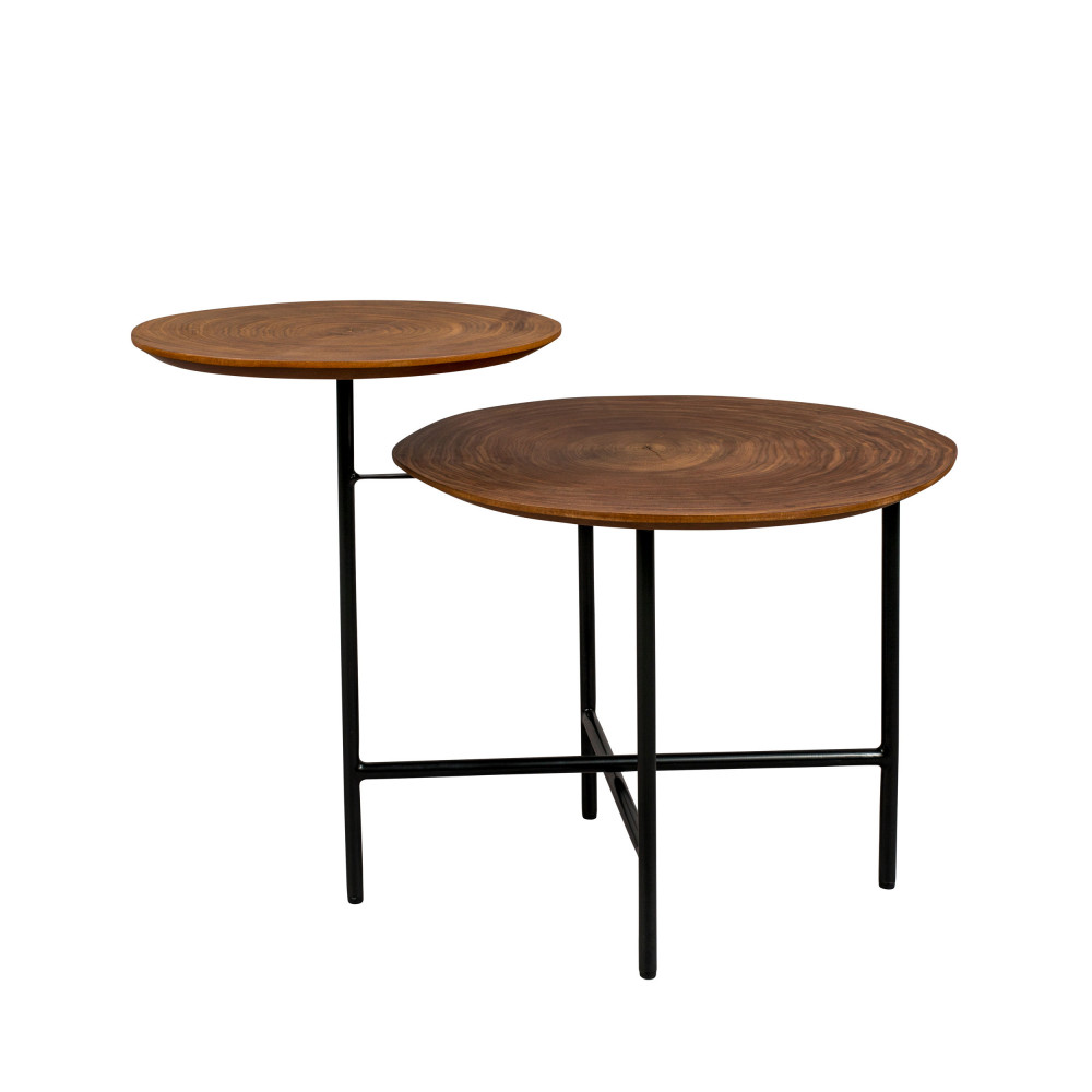 Table basse en bois foncé et métal noir