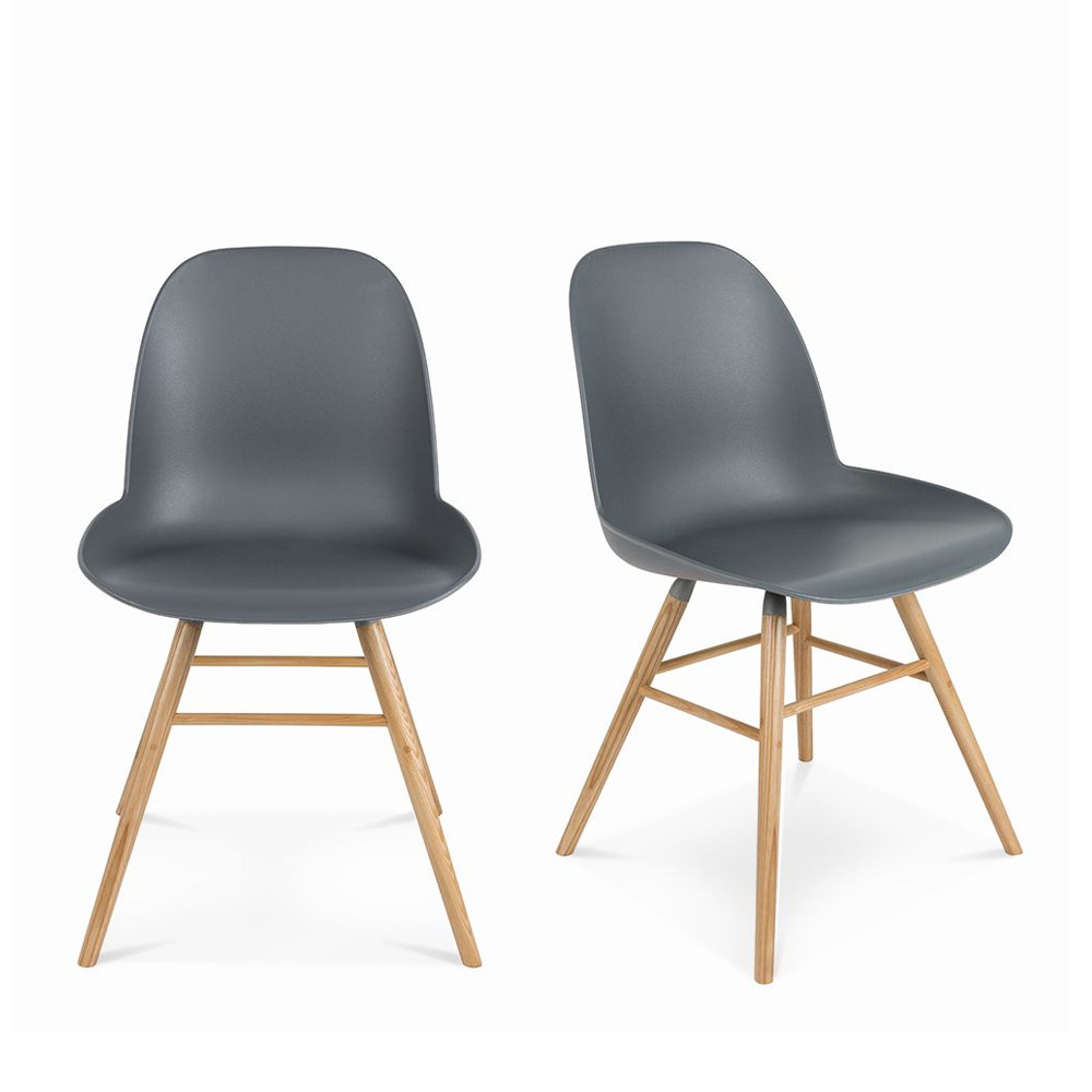 maison du monde 2 chaises résine et bois gris anthracite