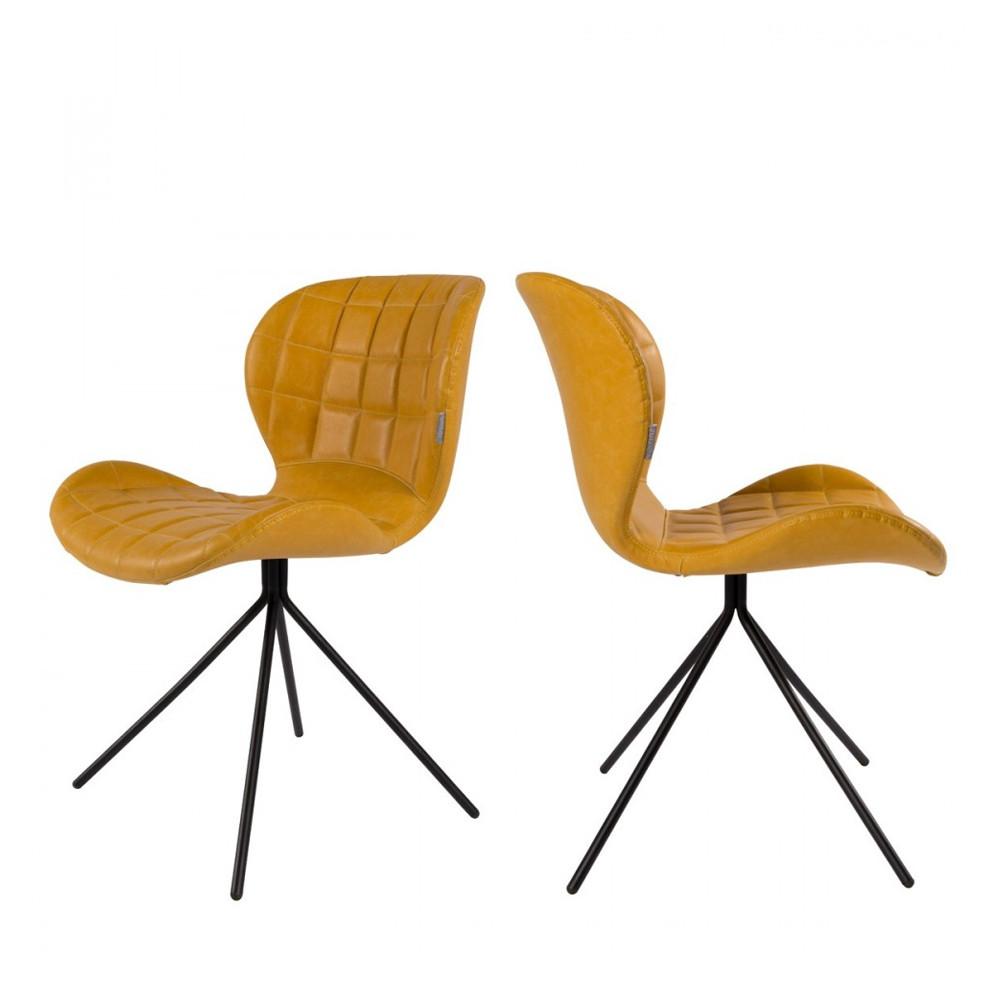 maison du monde 2 chaises design skin jaune